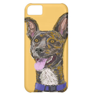 Funny Looking Colorful Sketched Dog with Big Ears Cover For iPhone 5C
