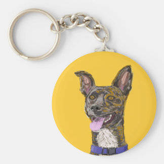 Funny Looking Colorful Sketched Dog with Big Ears Keychain