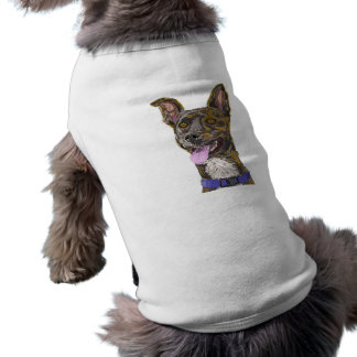 Funny Looking Colorful Sketched Dog with Big Ears Shirt