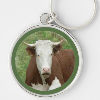 Funny Looking Cow in Grass Keychain