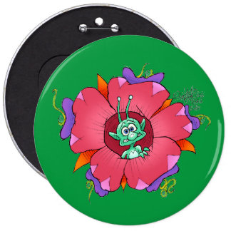 Funny looking creature on a flower, on a badge. pinback button