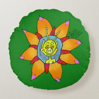 Funny looking creature on a flower, on a cushion. round pillow