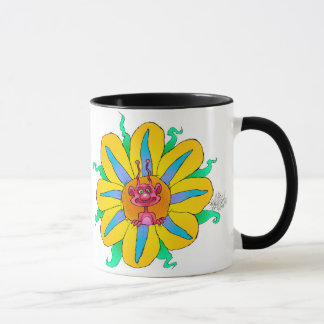 Funny looking creatures in flowers, on a mug. mug