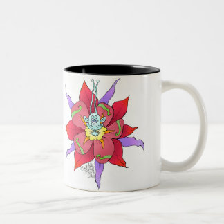 Funny looking creatures in flowers, on a mug. Two-Tone coffee mug