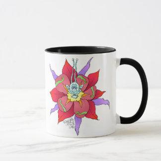 Funny looking creatures on flowers, on a mug. mug