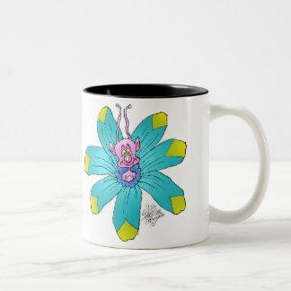 Funny looking creatures on flowers, on a mug. Two-Tone coffee mug