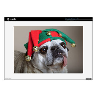 """Funny looking pug with tongue hanging out decal for 15"""" laptop"""