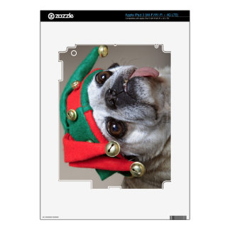 Funny looking pug with tongue hanging out decal for iPad 3