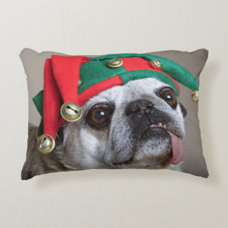 Funny looking pug with tongue hanging out decorative pillow