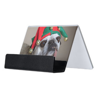 Funny looking pug with tongue hanging out desk business card holder
