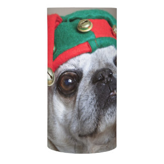 Funny looking pug with tongue hanging out flameless candle