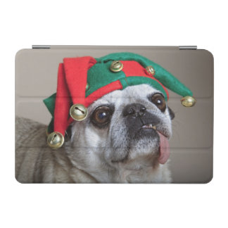 Funny looking pug with tongue hanging out iPad mini cover