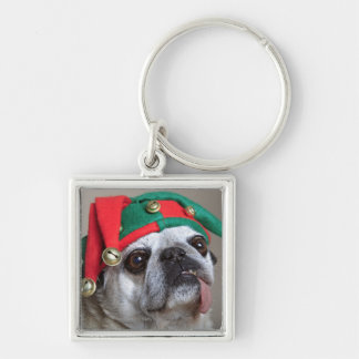 Funny looking pug with tongue hanging out keychain