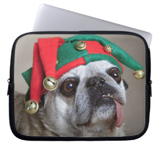 Funny looking pug with tongue hanging out laptop sleeve
