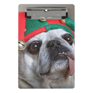 Funny looking pug with tongue hanging out mini clipboard