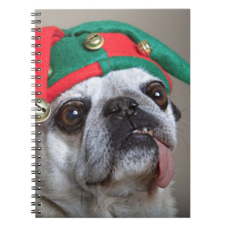 Funny looking pug with tongue hanging out notebook