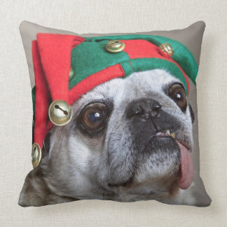 Funny looking pug with tongue hanging out throw pillow