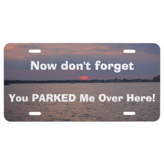 Funny Lost Parked Car Sunset Front License Plates