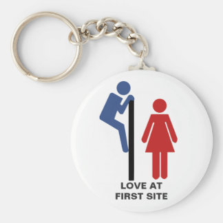 FUNNY LOVE AT FIRST SIGHT TOILET SIGN KEYCHAIN