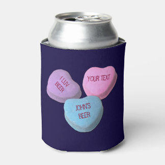 Funny Love Beer Candy Heart Custom Text Can Cooler
