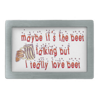 Funny Love Beer Rectangular Belt Buckle