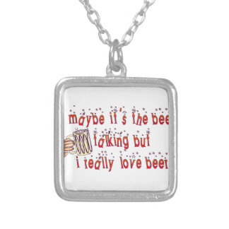 Funny Love Beer Silver Plated Necklace