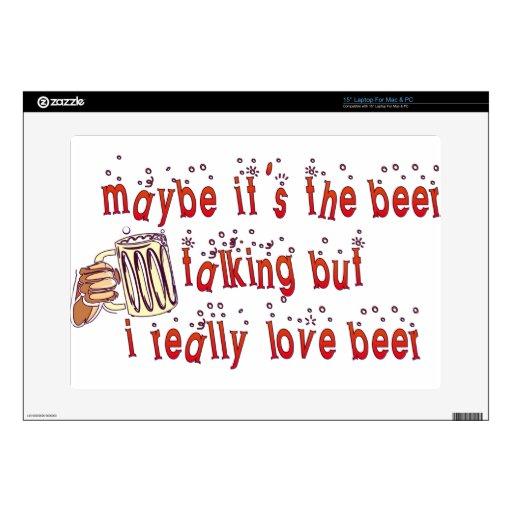 """Funny Love Beer 15"""" Laptop Decals"""