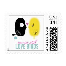 Funny Love Birds Stamp at Zazzle