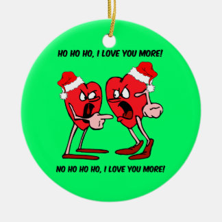Funny love Double-Sided ceramic round christmas ornament
