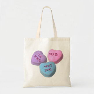 Funny Love To Read Books Candy Heart Custom Text Tote Bag