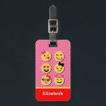 """Funny Luggage Tag with emoji characters<br><div class=""""desc"""">Find your luggage with this Funny Luggage Tag with emoji girly characters pink on back</div>"""
