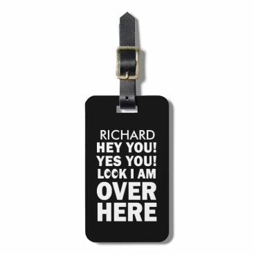 Professional Business Funny Luggage Tag with emoji eyes in black