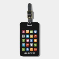 Funny luggage tag with smartphone app icons