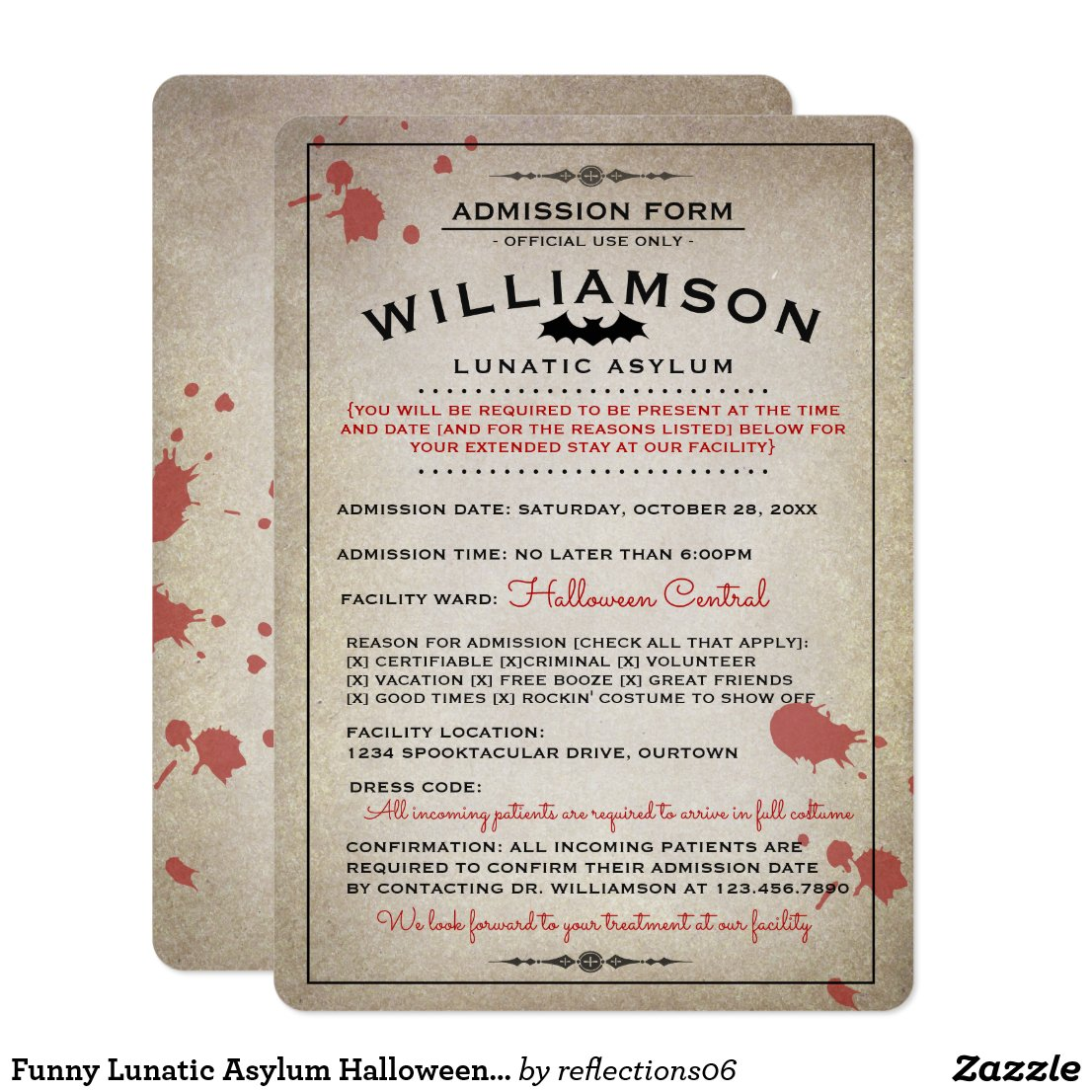 Funny Lunatic Asylum Halloween Party Invitations