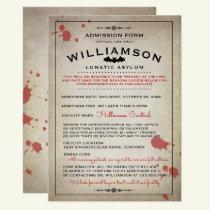 Funny Lunatic Asylum Halloween Party Invitations