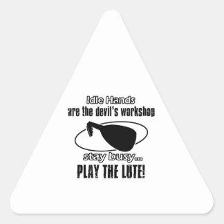 Funny lute designs triangle sticker