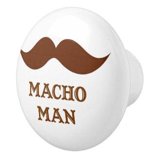 Funny Macho Man Mustache Ceramic Knob