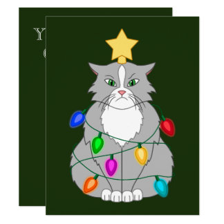 Funny Mad Christmas Tree Cat in Colorful Lights Card