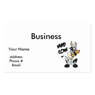 funny mad cow business card