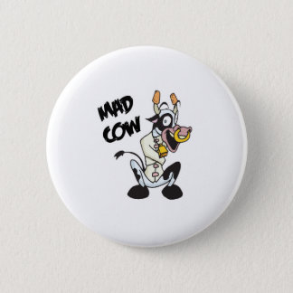 funny mad cow pinback button
