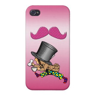 Funny Mad Hatter Hot Pink Mustache Covers For iPhone 4