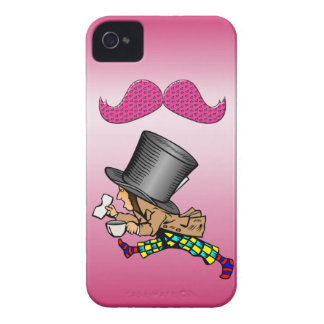 Funny Mad Hatter Hot Pink Mustache iPhone 4 Case
