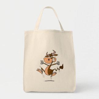 funny mad temper tantrum cow cartoon canvas bag