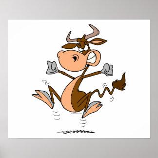 funny mad temper tantrum cow cartoon poster