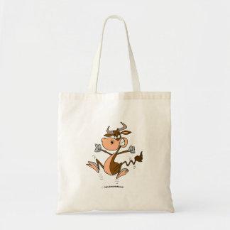 funny mad temper tantrum cow cartoon tote bag