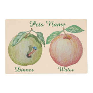 funny maggot red apple green apple design for pet placemat