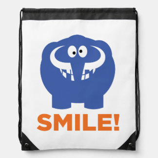 Funny mammoth life. drawstring backpack