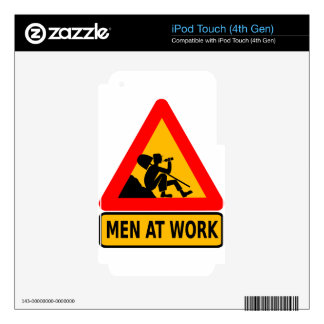 Funny Man at work sign iPod Touch 4G Decal