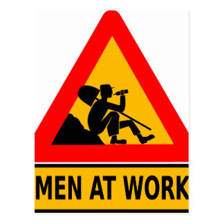 Funny Man at work sign Postcard