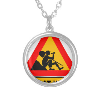 Funny Man at work sign Silver Plated Necklace